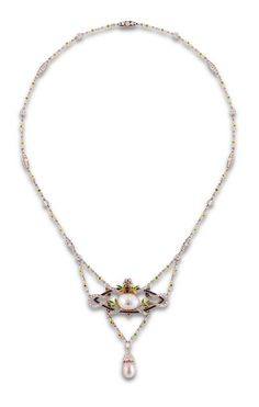 Belle Epoque diamond, pearl and gem-set necklace the central section designed as a calibré-cut sapphire openwork lozenge set to the centre with a single button pearl amid diamond ribbons and demantoid garnet leaf sprays, suspending a further natural pearl drop with diamond cap from a diamond and demantoid garnet chain, similar diamond and demantoid garnet alternate section backchain mounted in platinum and gold