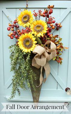 DIY Fall Door Arrangement