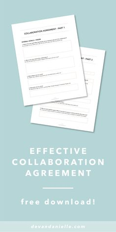 Download this two-part, bonus Collaboration Agreement to ensure your next collaboration is as effective as possible! by Devan Danielle — Collaborations can be amazing for so many reasons, but they can also be scary, risky, and confusing. The goal of this agreement is to get you and your collaboration partner talking + feeling more comfortable! Avoid conflict and kick off your collaboration right. Download the Agreement now!