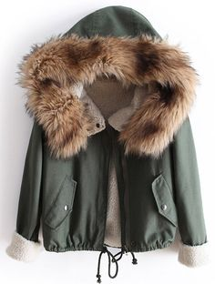 Cozy Green Fur Hooded Long Sleeve Drawstring Coat