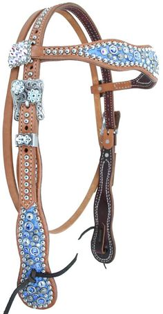 Sapphire blue headstall by Luan's Leathers