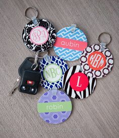 Monogrammed Cute Keychains - Personalized Stylish Keychains