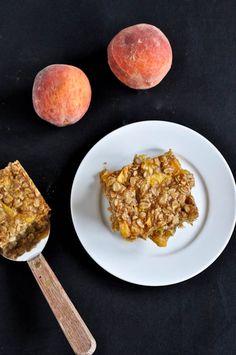 Brown Butter Peach Crumble Bars.