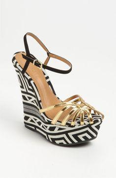 graphic gold platform sandals by Schutz
