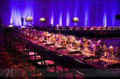 We love the bold, dramatic colors of this wedding reception table setting at Omni Shoreham. {Omni Shoreham Hotel}