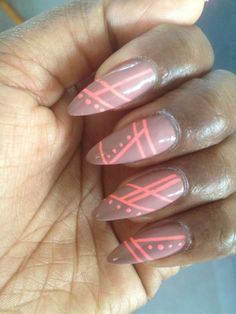 Nude & Pink Stripes #nails #beauty