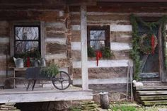 cabin christmas, dream homes, log cabins, primit hous, cabin porch, christmas garlands, awesom cabin