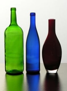 DIY: flattened glass bottles.