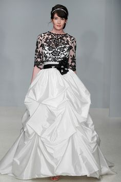 Alfred Angelo black and white wedding dress with shrug, Fall 2012