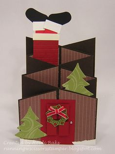 Cascading Christmas House: This card uses the cascading card fold, which came from a technique challenge over at Splitcoaststampers. [Wed., Dec 5, 2012]