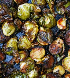 Balsamic Roasted Brussels Sprouts with Garlic.