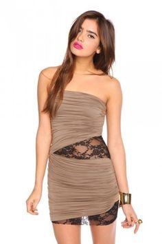 Laced Drape Dress - Mocha - NASTY GAL - StyleSays