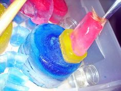 Colored ice sculptures.  What an easy, but fun, activity for kids in the winter! - Re-pinned by @PediaStaff – Please Visit http://ht.ly/63sNt for all our pediatric therapy pins