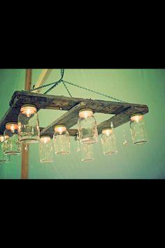 Mason  jar pallet chandelier