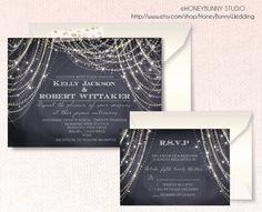 Chalkboard wedding invitation.Great Gatsby . Art Deco. RSVP. string lights.stars. Digital or Printed. chandelier .Elegant Rustic. Stars