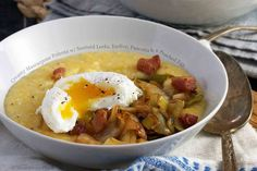 ... polenta, savory breakfast, leek, eggs, poach egg, mascarpone, pancetta