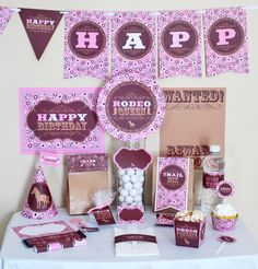 Cowgirl Pink and Brown Birthday DIY Printable Party Kit. $10.00, via Etsy.