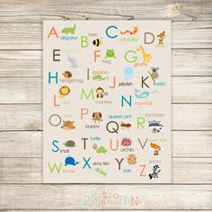 Animal ABC Nursery Print Beige 11x14  Inches