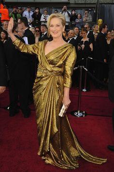 Meryl Streep wearing custom Lanvin eco fashion gown. http://www.organicspamagazine.com/2011/09/lean-mean-green-machine/