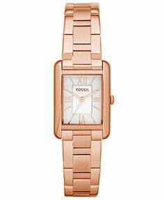 Fossil Watch, Women's Florence Rose Gold-Tone Stainless Steel Bracelet 24x22mm ES3326 - Women's Watches - Jewelry & Watches - Macy's