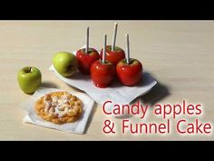 EASY; Miniature Candy Apple & Funnel Cake Tutorial - Halloween / Fall - YouTube
