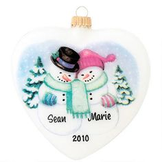Snow Couple on Heart Glass Ornament #snowman #ornament #personalized #Bronners $10.99