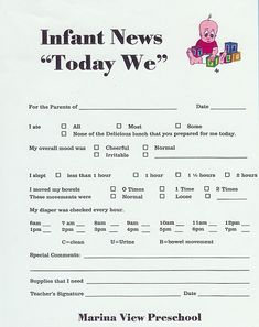Daycare forms on pinterest infant daily report day care and infants
