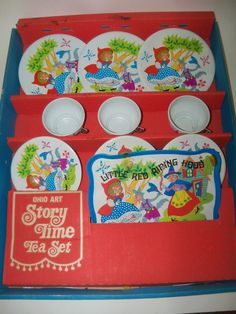 Vintage Ohio Art Tin Metal Childrens Tea Set - Little Red Riding Hood