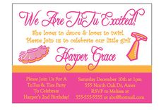 Tutu and Ties 2nd birthday party invitation