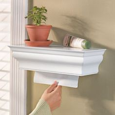 Shelf Towel Dispensers This attractive shelf hides paper towels.