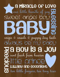 Printable Baby Boy Digital Subway Art Typography Decoration 11x14 and 8x10.