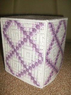 Purple / White Tissue Box Cover by Heidishandywork on Etsy, $5.00