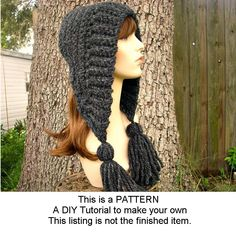 Instant Download Crochet Pattern - Hat Crochet Pattern - Crochet Hat Pattern for Tassel Hat - PDF Pattern Womens Hat Womens Accessories