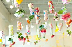 Hanging garden for spring. Love this for the classroom ceiling/art project! Oh Oh Oh!! I'm doing this now in our artrium  and patio house!! So cute and fun!~ Love it!