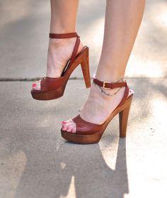 YSL shoes-cognac sandals -70's inspired platforms +wood + leather by ...love Maegan, via Flickr