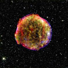 This composite image of the Tycho supernova remnant combines infrared and X-ray observations obtained with NASA's Spitzer and Chandra space observatories, respectively, and the Calar Alto observatory, Spain. It shows the scene more than four centuries after the brilliant star explosion witnessed by Tycho Brahe and other astronomers of that era.