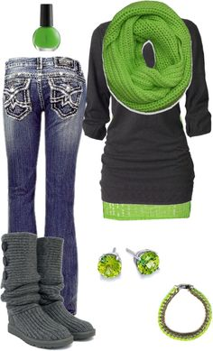 Bright green and grays