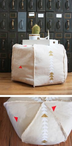 DIY Canvas Pouf - I also love the fabric they used.