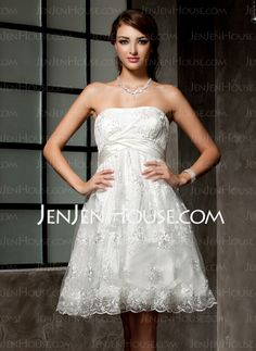 Wedding Dresses - $135.99 - Empire Strapless Knee-Length Satin Lace Wedding Dresses With Ruffle Beadwork (002000221) http://jenjenhouse.com/Empire-Strapless-Knee-Length-Satin-Lace-Wedding-Dresses-With-Ruffle-Beadwork-002000221-g221