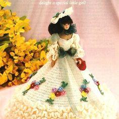 Y00 Crochet PATTERN ONLY Garden Party Gown & Hat Fashion Doll Barbie | BeadedBundles - Instructional on ArtFire