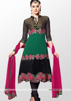 Stylish designer concept unstitched georgette salwar kameez designed with blend of black and green shade. Kameez features horizontal pattern patch enhanced with zari woven and sequins embroidery. Kameez is beautified with floral pattern cut work embroidery. You can wear it in evening parties. http://goodbells.com/salwar-suits/stylish-pattern-black-and-green-shalwar-kameez.html