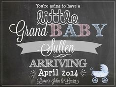 Grandparent pregnancy announcement via LCO Design & Paperie on Etsy! chalkboard pregnanc