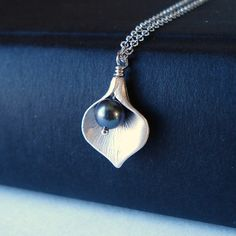 Sterling Silver Necklace Calla Lily and Freshwater by NoorJewels, $29.00