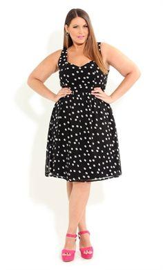 #citychic #plussize #polkadot #spot #black #curvy #fashion #dress #strapless
