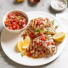 A zesty lemon marinade and fresh gazpacho salsa turn grilled chicken breast into a bright, exotic affair: http://www.bhg.com/recipes/chicken/grilled/grilled-chicken-recipes/?socsrc=bhgpin060614chickenpaillards&page=6