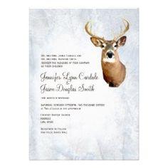 Winter Snow Camo Hunting Deer Wedding Invitations