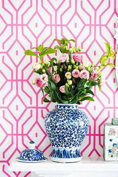 pink patterned wallpaper.