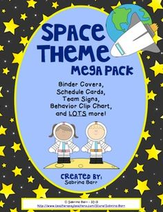 """Space+Them+Mega+Pack This+product+has+all+of+the+""""must+have""""+printables+to+get+your+classroom+ready+for+a+Space+Theme.  This+product+includes: Space+Theme+Binder+Cover+and+Rule+Pages Student+Passes+and+Bookmarks Team+Signs Student+Numbers+-+for+cubbies,+mailboxes,+student+work+displays,+etc. Behavior+Clip+Chart Daily+Schedule+Cards 3+Desk+Nameplate+options Space+Theme+Cooperative+Learning+Kagan+Desktags"""