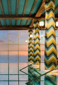 The pillar-adorned, sky-high infinity pool at the spa. #Dubai, United Arab Emirates