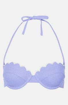Topshop 'Cornflower' Scalloped Bikini Top